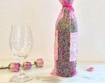 Wine Bag Pink Purple Fuchsia Green Mesh Polka Dot Motif Fuchsia RibbonTie Bottle Bag Party Bag Gift Bag Baby Shower Gift bag Bridal Shower