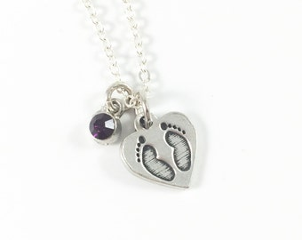 Baby Footprint Necklace, Miscarriage Necklace, Remembrance Necklace, Keepsake Jewelry, Memorial Jewelry, In Memory Of, Baby Loss Gift
