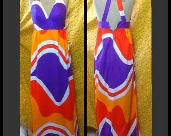 Spectacular Vintage Malia of Honolulu geometric print block colour psychedelic maxi sundress