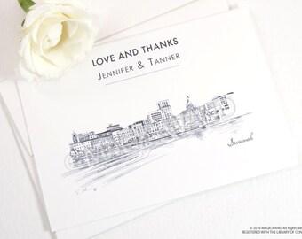 Savannah Skyline Wedding Thank You Cards, Personal Note Cards, Bridal Shower Thank you Cards (set of 25 cards)