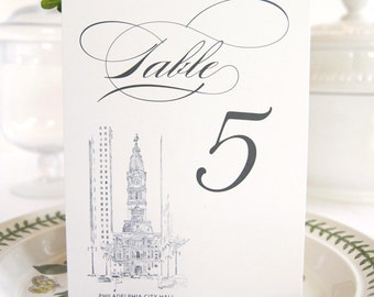 Philadelphia City Hall Skyline Table Numbers (1-10)