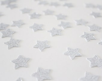 Silver Glitter Star Confetti/ 5/8 Inch Small / 200 Count/ Party Decoration/ Birthday/ Wedding/ Bridal Shower/ Baby Shower/ Table Confetti