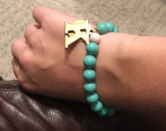 Personalized handmade vintage turquoise glass bead braclet