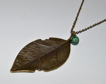 Antique bronze leaf pendant necklace