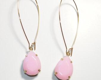 Pink teardrop kidney wire earrings