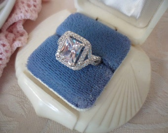 Antique Art Deco Vintage White Gold Ring with Sapphire White Stones large size 11 or W
