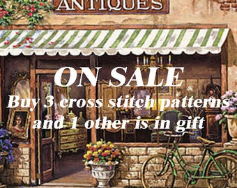 Free cross stitch pattern cross stitch pattern needlepoint canvases christmas gift - Pay for 3 patterns but get 4 patterns