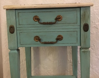 Blue Gray Nightstand / Bedside Table / Skinny Table / Blue / Little Girls Bedroom Table