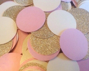 Confetti~Pink, Gold & Cream 200+ piece circle confetti, table scatter, baby shower, bridal shower, party decoration, Table Decoration