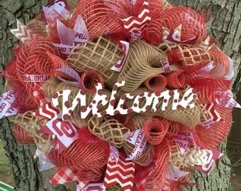 OU Welcome Wreath//University of Oklahoma//OU//Boomer Sooner//wreath//okahoma//crimson