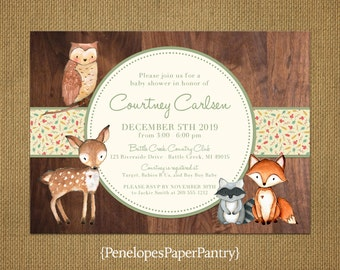 Rustic Woodland Animal Theme Baby Shower Invitations,Baby Fox,Raccoon,Fawn,Owl,Rustic Wood,Printed Cards,Customizable,With White Envelopes
