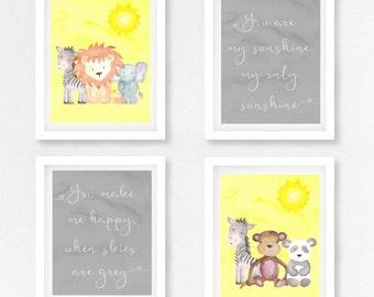 Yellow Baby Shower Gift, Neutral Baby Shower, Gender Neutral Nursery, Safari Wall Art, Jungle Nursery Decor, You Are My Sunshine Nursery Art