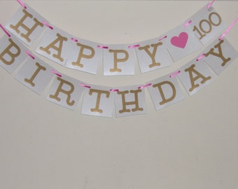Gold Happy 100th Birthday Banner, Gold and White Happy 100th Birthday, Happy Birthday Party Decoration, Birthday Greetings