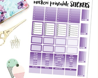 Purple People Eater Printable Planner Stickers (Erin Condren Planner)