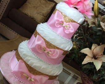 Elegant pink and gold diaper cake/Baby Girl Diaper cake/Vintage Chic diaper cake/Pink and gold baby dhower centerpiece/Gift