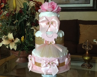 Ballerina diaper cake/Pink and gold ballerina diaper cake/Ballerina baby shower centerpiece/Pink and gold baby shower centerpiece/ Girl gift