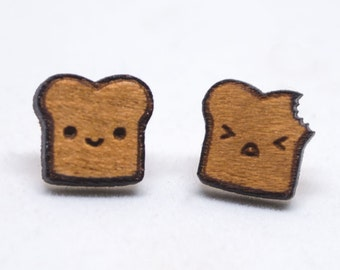 Chibi Toast Stud Earrings   Hypoallergenic Stud Earrings   Cute Toast Post Earrings   Small Wood Earring Studs   Wood Toast Jewelry