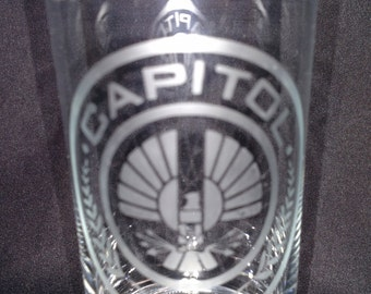 Hunger Games inspired hand-etched drinking glass (free shipping)