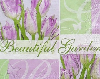 Set of 2 pcs 3-ply ''Beautiful garden'' paper napkins for Decoupage or collectibles 33x33cm, Tulips napkins, Floral napkins, Servetten