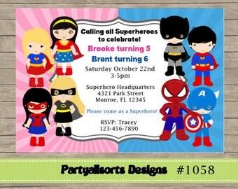 311 diy boy and girl superhero party invitations cards 311 diy boy and girl superhero party invitations cards solutioingenieria Gallery