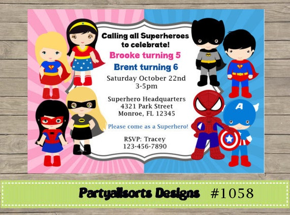 311 DIY Boy and Girl Superhero Party Invitations Cards – Superheroes Party Invitations