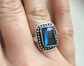 Large Sterling Silver Labradorite ring chunky Blue gemstone ring grey statement ring UK size P US size 7.75 (medium) 925 Labradorite jewelry