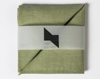 Pocket square olive green chambray - greenery chambray handkerchief - olive green chambray wedding pocket squares - groom accessory