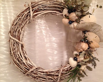 Pay Just a Dollar for Shipping !!!  Hand Made Seashell Wreath. Can be Customized. So Elegant and Beachy.