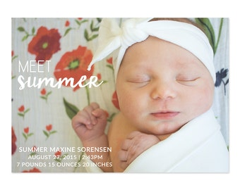Meet Baby Name Custom Newborn Photo Birth Annoucement - Digital Download