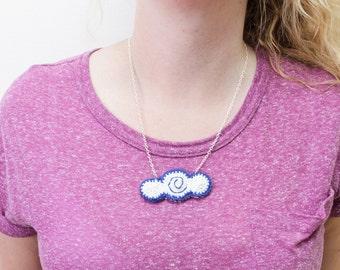 Crochet cloud necklace, weather necklace, cloud accessory, cloud pendant, crochet necklace