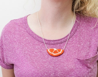 Crochet Orange Segment Necklace