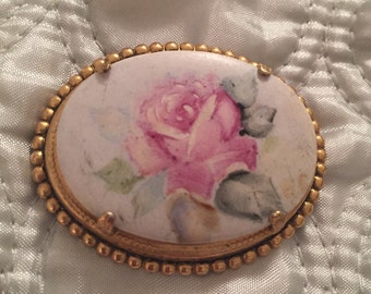 Two Limoges Style hand painted Brooches