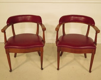 40661E: Pair of GORDON FURNITURE CO. Cherry Leather Open Arm Chairs
