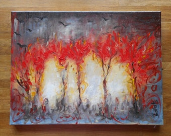 """Original abstract oil painting by Nalan Laluk: """"Forest Fire, 1"""""""