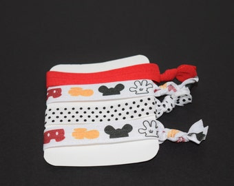 Mickey Mouse Elastic Hair Ties- Set of 4 Hair Ties- Mickey Mouse FOE- Mickey Mouse Elastic- Mickey Mouse- Disney Hair Ties