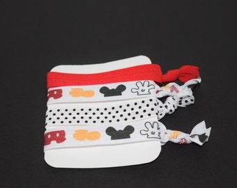 Mickey Mouse Elastic Hair Ties- Set of 4 Hair Ties- Mickey Mouse FOE- Mickey Mouse Elastic- Mickey Mouse- Disney Hair Ties