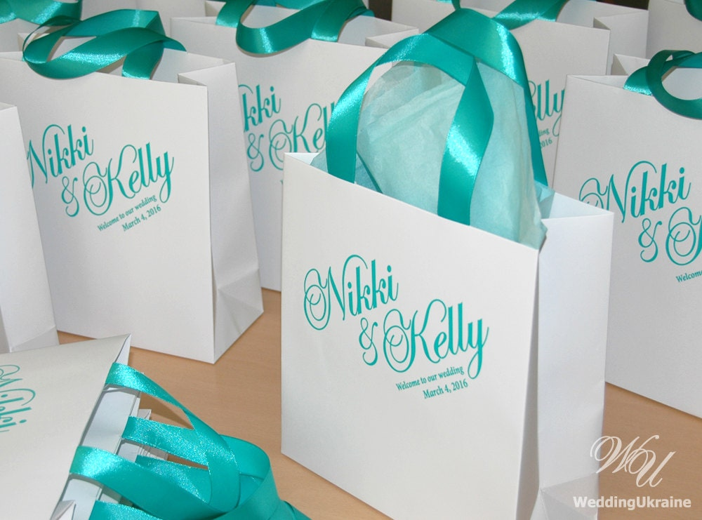 Wedding Favor Bags And Ribbons : Wedding Welcome Bags with satin ribbon and names Elegant
