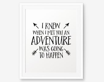 Nursery art,  I knew when i met you an adventure was going to happen, Nursery Wall Art, Children decor, Winnie the Pooh quote