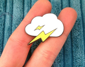 Cloud and lightning pin - trendy thunder enamel pin badge brooch