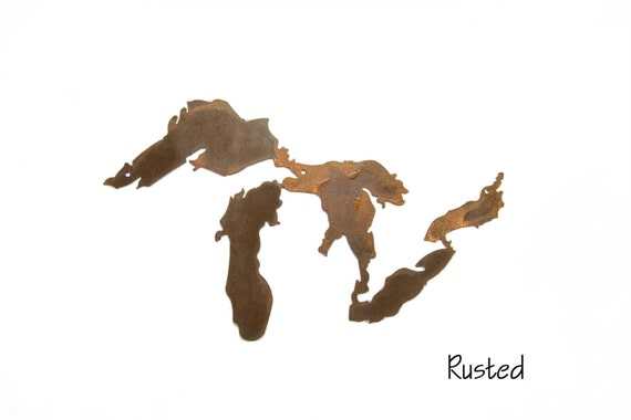 Great Lakes Metal Wall Art, Rusted