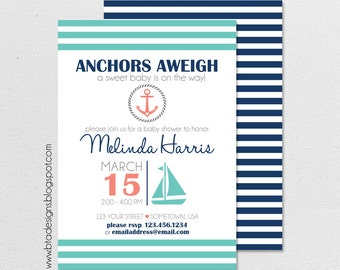 Nautical Baby Shower Invitation 1 for Boy, Girl, or Gender Neutral, Customized, Digital File