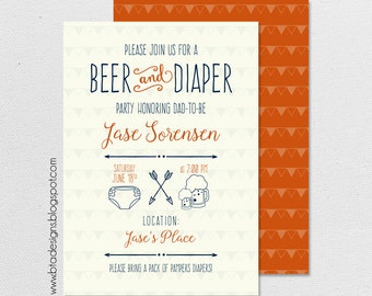 Beer and Diaper Party Invitation, Dudes and Diaper Party, Customized, Digital