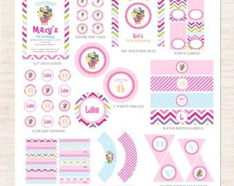Chevron Shopkins Inspired Birthday Party Full Printable Collection | Shopkins Party Printable Package | Girl Birthday | Gracie Lee Design
