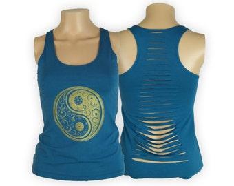 Yin and Yang Cut Back Yoga Tank Top- Cut Up Shirt- Cotton Lycra Blend- WI13