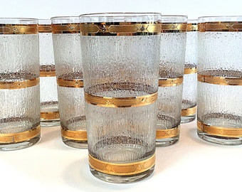 Culver Icicle Pattern Highball Glasses Tumblers Mid Century Drink Set of Eight Tear Drop Pattern Bamboo Pattern Vintage Rare