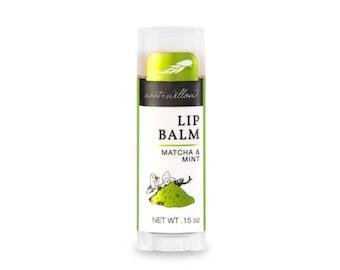 Organic Lip Balm, Matcha and Mint, Natural lip balm, Minty lip balm, Handmade, Peppermint, Green Tea, Dry lip treatment