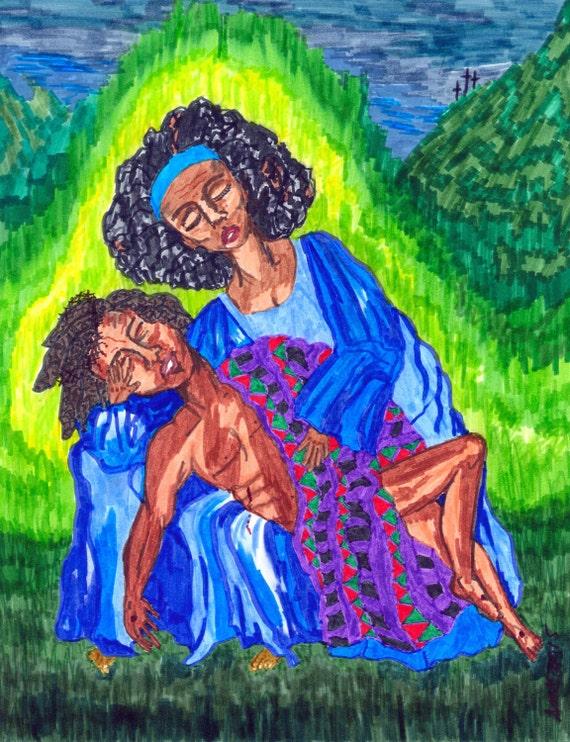 "Digital Download - from my original painting, ""PIETA 2"""