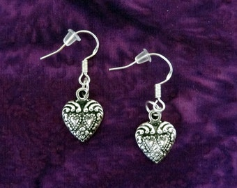 50% SALE Valentines Day Earrings..Silver Heart Earrings..Antique Silver Heart Charm Earrings..Heart Dangle Earrings.Valentines Gifts For Her