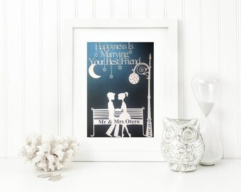 Happiness is....Personalised unframed Wedding Papercut