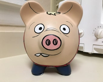 Spider-Pig Spider-Man Pig The Simpsons Hand Painted Ceramic Piggy Bank Medium